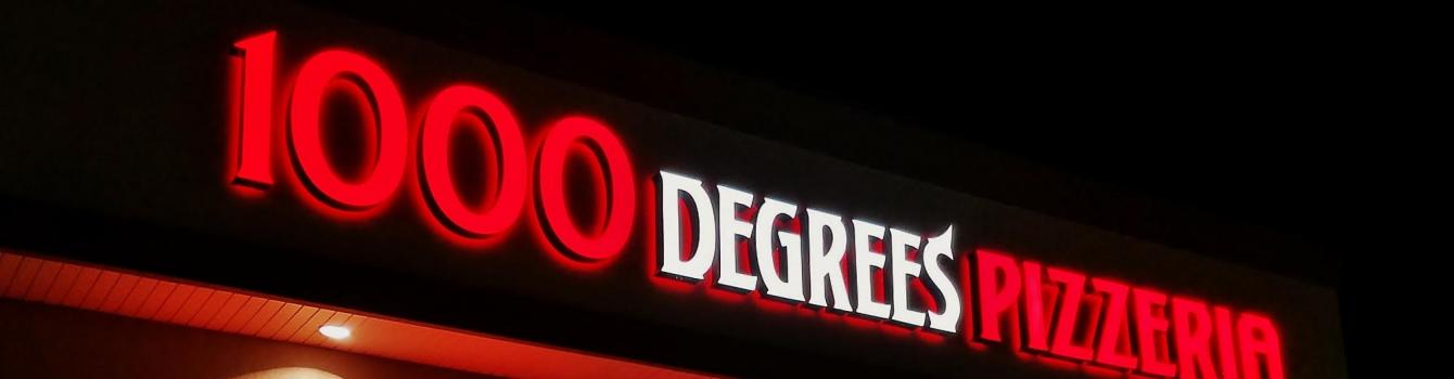 1000 degrees pizza sign